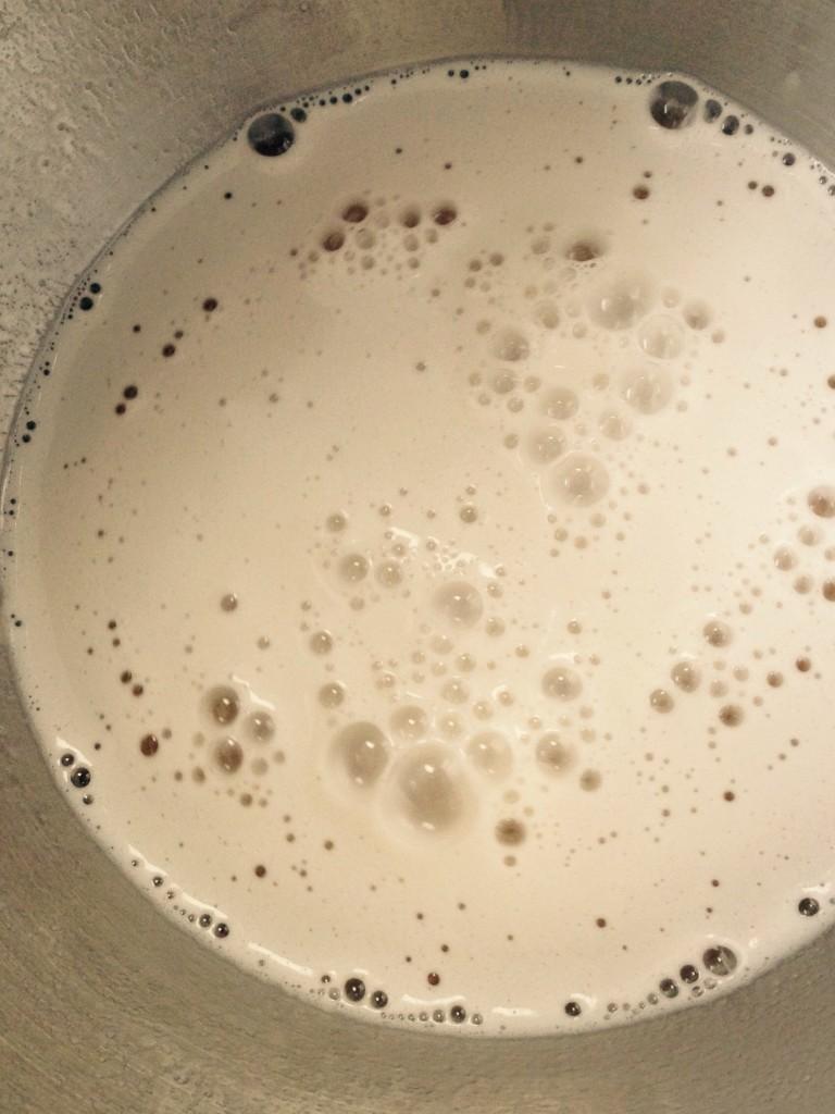 Øl og vand skummer, når gæren tilsættes.