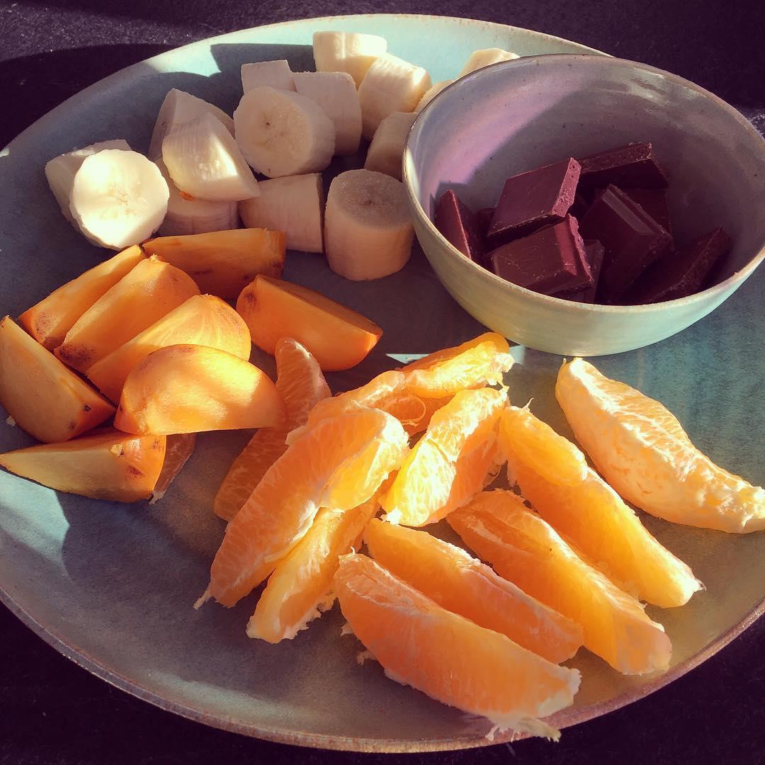 Vi spiste gule frugter :)